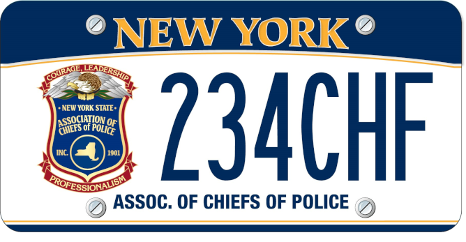 """License plate with seal on left and """"Assoc. of Chiefs of Police"""" at the bottom."""